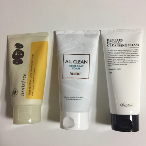 My personal favourites are the Innisfree Jeju Volcanic Pore Cleansing Foam, Heimish White Clay Foam and Benton Honest Cleansing Foam.